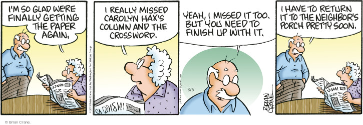 Comic Strip Brian Crane  Pickles 2015-03-05 neighbor