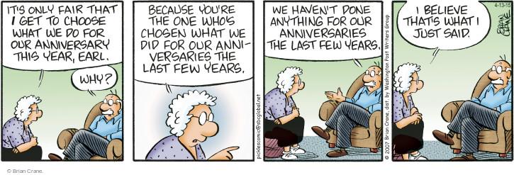 Comic Strip Brian Crane  Pickles 2015-04-13 marriage