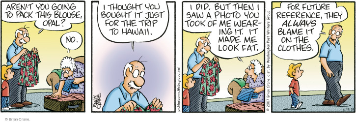 Comic Strip Brian Crane  Pickles 2015-04-15 blame