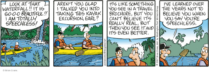 Comic Strip Brian Crane  Pickles 2015-04-18 traveler