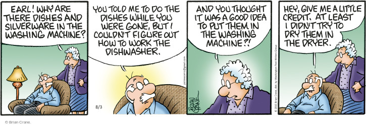 Comic Strip Brian Crane  Pickles 2015-08-03 dry cleaning
