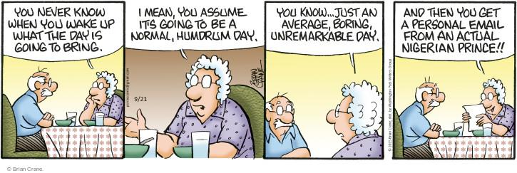 Comic Strip Brian Crane  Pickles 2015-09-21 mail