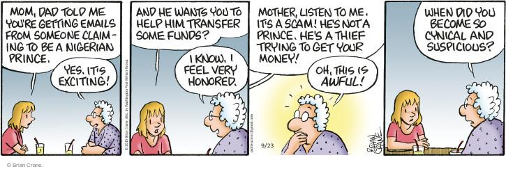 Comic Strip Brian Crane  Pickles 2015-09-23 mail