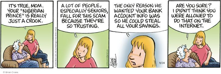 Comic Strip Brian Crane  Pickles 2015-09-24 true false