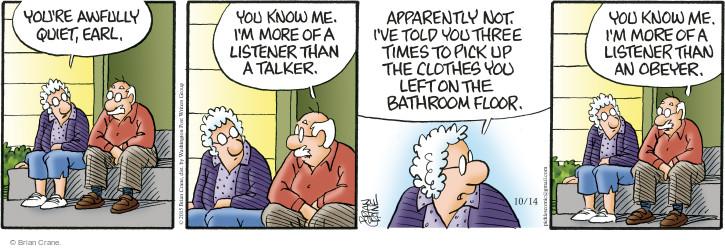 Comic Strip Brian Crane  Pickles 2015-10-14 not listening