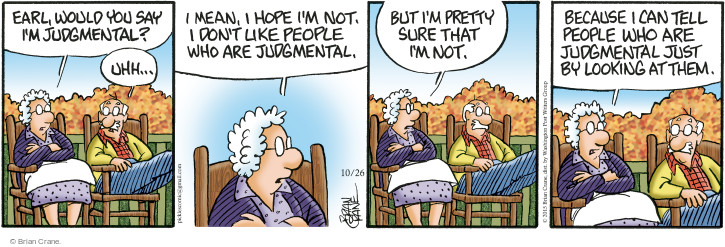 Comic Strip Brian Crane  Pickles 2015-10-26 judgment