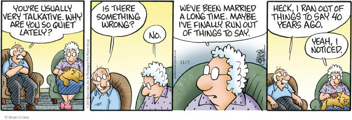 Comic Strip Brian Crane  Pickles 2015-11-07 marriage
