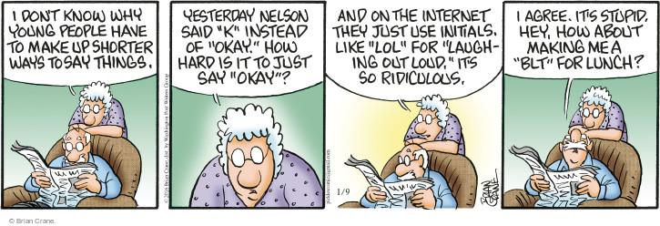 Comic Strip Brian Crane  Pickles 2016-01-09 language