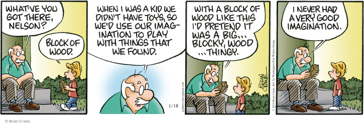 Comic Strip Brian Crane  Pickles 2016-01-18 pretend