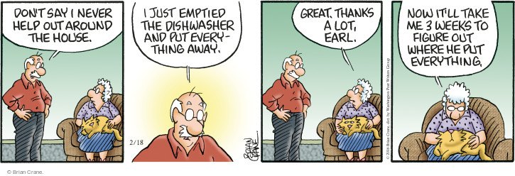 Comic Strip Brian Crane  Pickles 2016-02-18 housekeeping