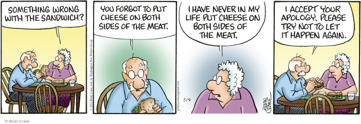 Cartoonist Brian Crane  Pickles 2016-05-09 meat