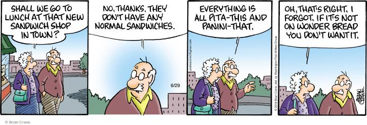 Comic Strip Brian Crane  Pickles 2016-06-29 lunch