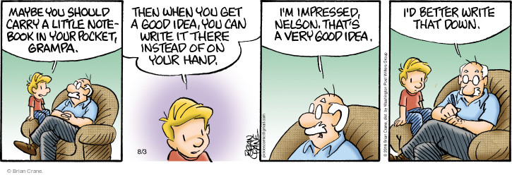 Comic Strip Brian Crane  Pickles 2016-08-03 good idea