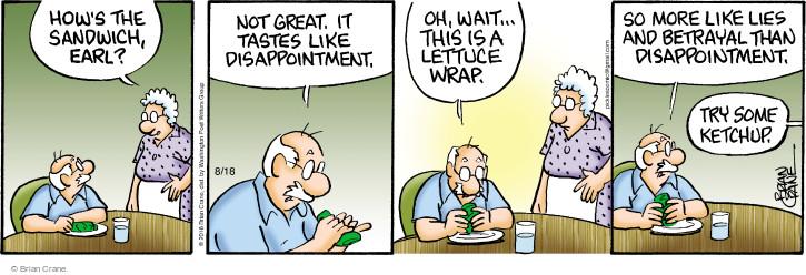 Comic Strip Brian Crane  Pickles 2016-08-18 sandwich