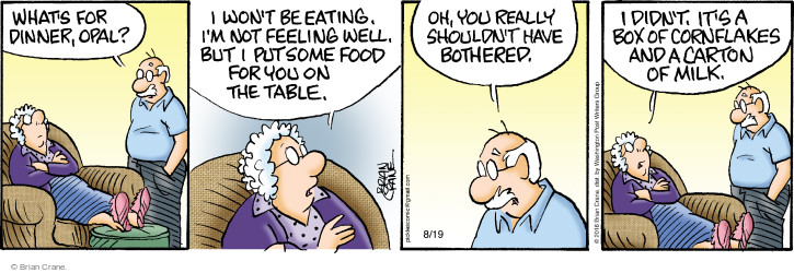 Comic Strip Brian Crane  Pickles 2016-08-19 meal