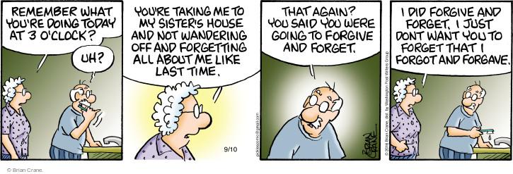 Comic Strip Brian Crane  Pickles 2016-09-10 remind