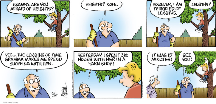 Comic Strip Brian Crane  Pickles 2016-09-25 climb tree