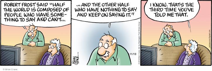 Comic Strip Brian Crane  Pickles 2016-11-19 Robert Frost