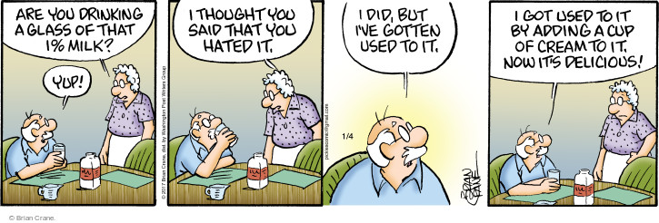 Comic Strip Brian Crane  Pickles 2017-01-04 got milk
