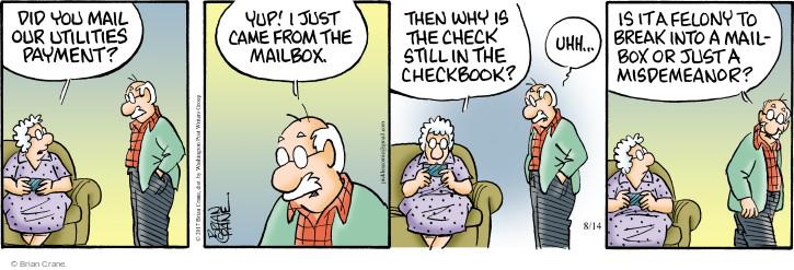 Comic Strip Brian Crane  Pickles 2017-08-14 mail
