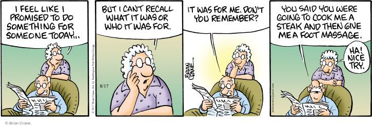 Comic Strip Brian Crane  Pickles 2017-08-17 promise