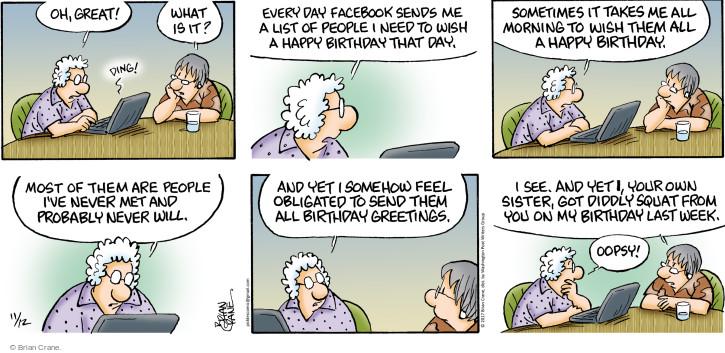 Cartoonist Brian Crane  Pickles 2017-11-12 family