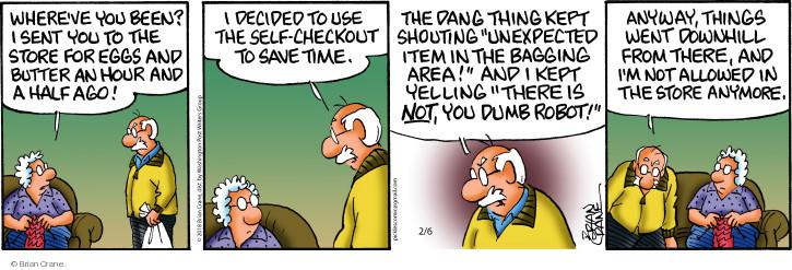 Comic Strip Brian Crane  Pickles 2018-02-06 dang