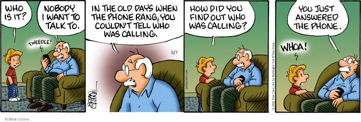 Comic Strip Brian Crane  Pickles 2018-05-07 caller