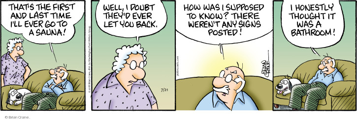 Comic Strip Brian Crane  Pickles 2018-07-21 bathroom
