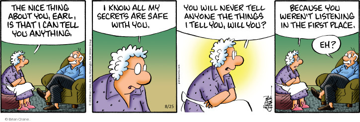 Comic Strip Brian Crane  Pickles 2018-08-25 secret