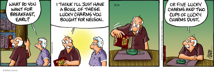 Cartoonist Brian Crane  Pickles 2018-09-14 cereal