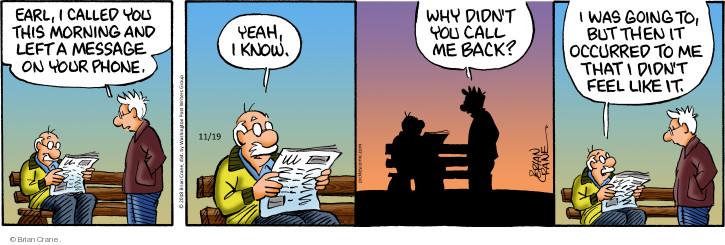 Comic Strip Brian Crane  Pickles 2018-11-19 morning