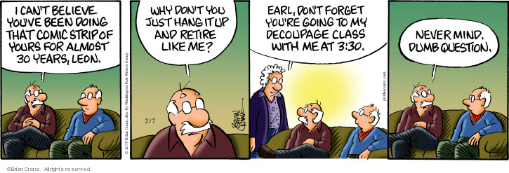 Comic Strip Brian Crane  Pickles 2019-02-07 retirement