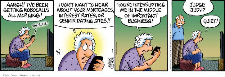 Comic Strip Brian Crane  Pickles 2019-04-01 interruption