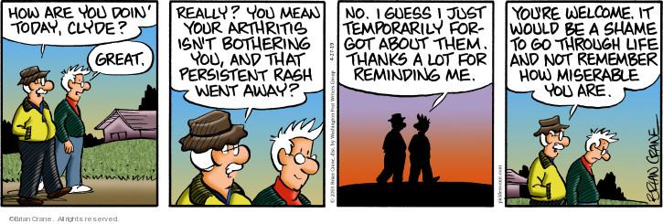 Comic Strip Brian Crane  Pickles 2019-04-27 forgotten
