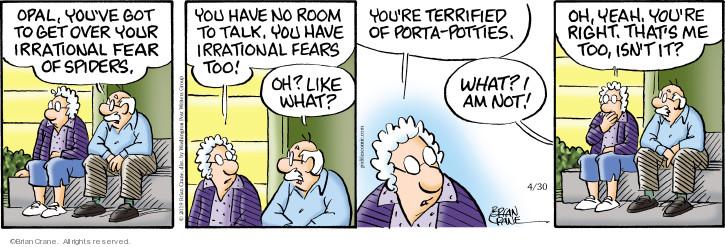 Comic Strip Brian Crane  Pickles 2019-04-30 fear