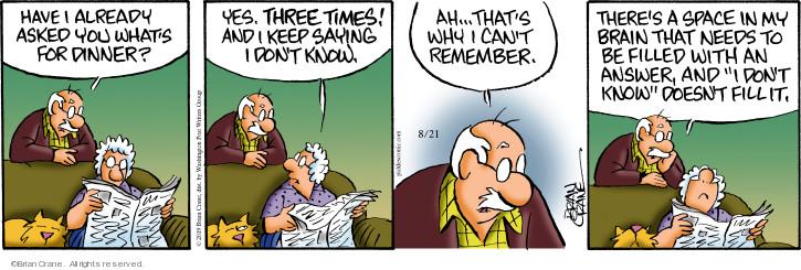 Comic Strip Brian Crane  Pickles 2019-08-21 remember