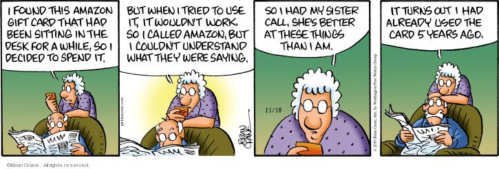 Comic Strip Brian Crane  Pickles 2019-11-18 internet