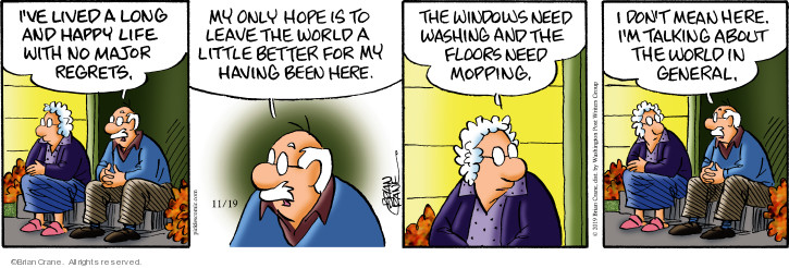 Comic Strip Brian Crane  Pickles 2019-11-19 housecleaning