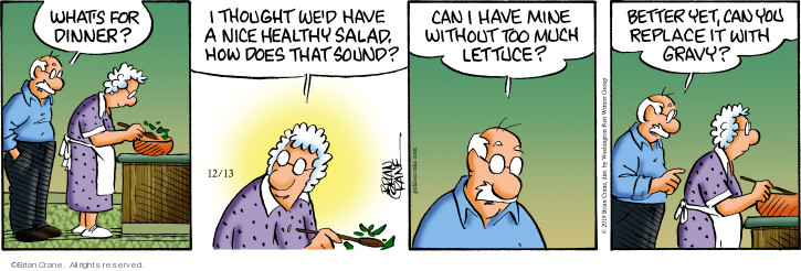 Comic Strip Brian Crane  Pickles 2019-12-13 food health