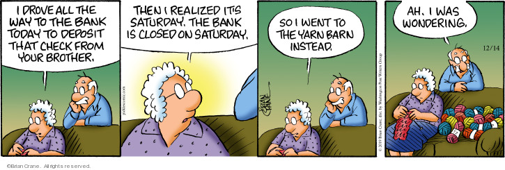 Comic Strip Brian Crane  Pickles 2019-12-14 Saturday