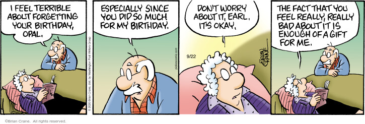Comic Strip Brian Crane  Pickles 2020-09-22 birthday gift