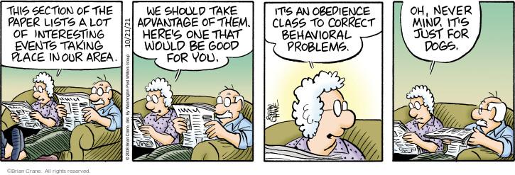 Comic Strip Brian Crane  Pickles 2021-10-21 behavior