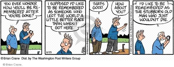 Cartoonist Brian Crane  Pickles 2001-06-25 remember when