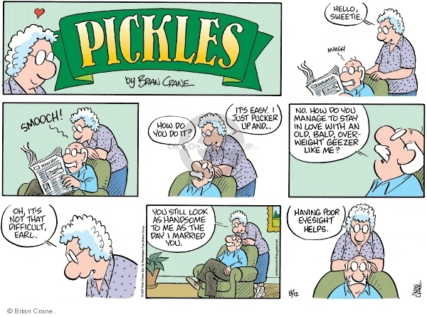 Comic Strip Brian Crane  Pickles 2007-08-12 kiss