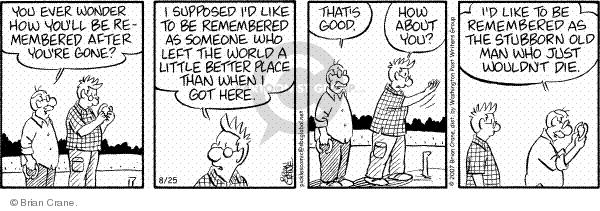 Comic Strip Brian Crane  Pickles 2007-08-25 death
