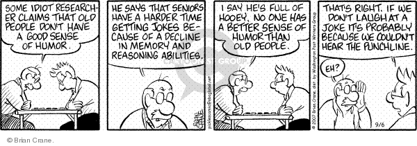Comic Strip Brian Crane  Pickles 2007-09-06 hearing loss