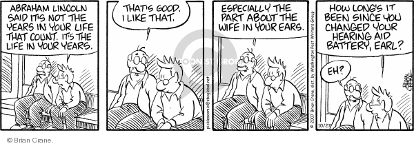 Comic Strip Brian Crane  Pickles 2007-10-27 hearing loss