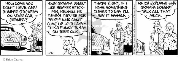 Comic Strip Brian Crane  Pickles 2007-11-19 grandson