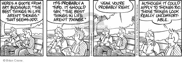 Comic Strip Brian Crane  Pickles 2007-11-24 uncomfortable